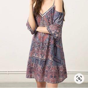 Bershka Cold Shoulder Patterned Dress